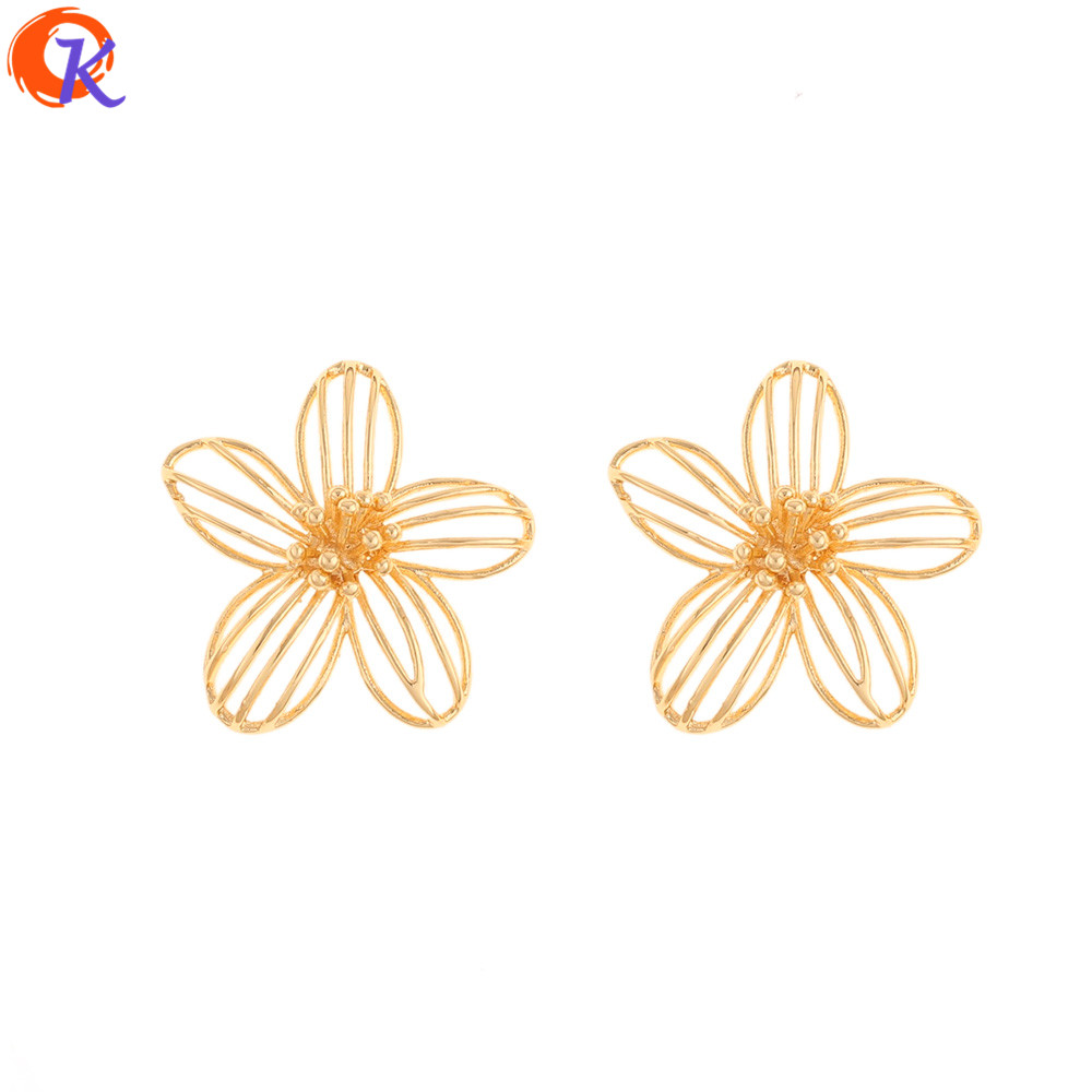 Cordial Design 30Pcs 26*28MM Jewelry Accessories/Charms/Flower Shape/Genuine Gold Plating/Hand Made/Earring Findings/DIY Making