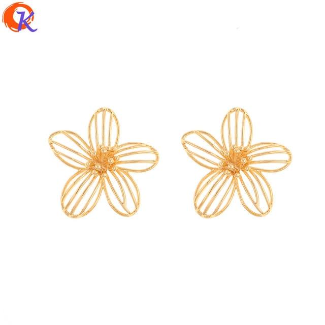 Cordial tasarım 30 adet 26*28MM takı aksesuarları/takılar/çiçek şekli/hakiki altın kaplama/el yapımı/küpe bulguları/DIY yapma