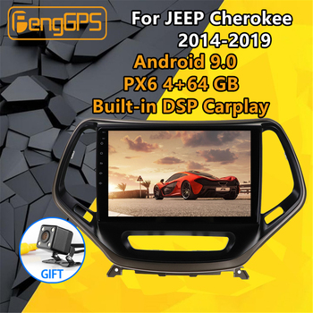 For JEEP Cherokee 2014 2015 - 2018 2019 Car multimedia player Stereo IPS Screen Android PX6 Radio Audio GPS Nav Head unit BT image