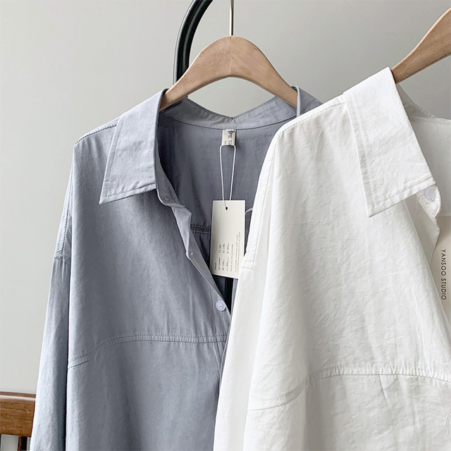 BGTEEVER Minimalist Loose White Shirts for Women Turn-down Collar Solid Female Shirts Tops 2020 Spring Summer Blouses 5
