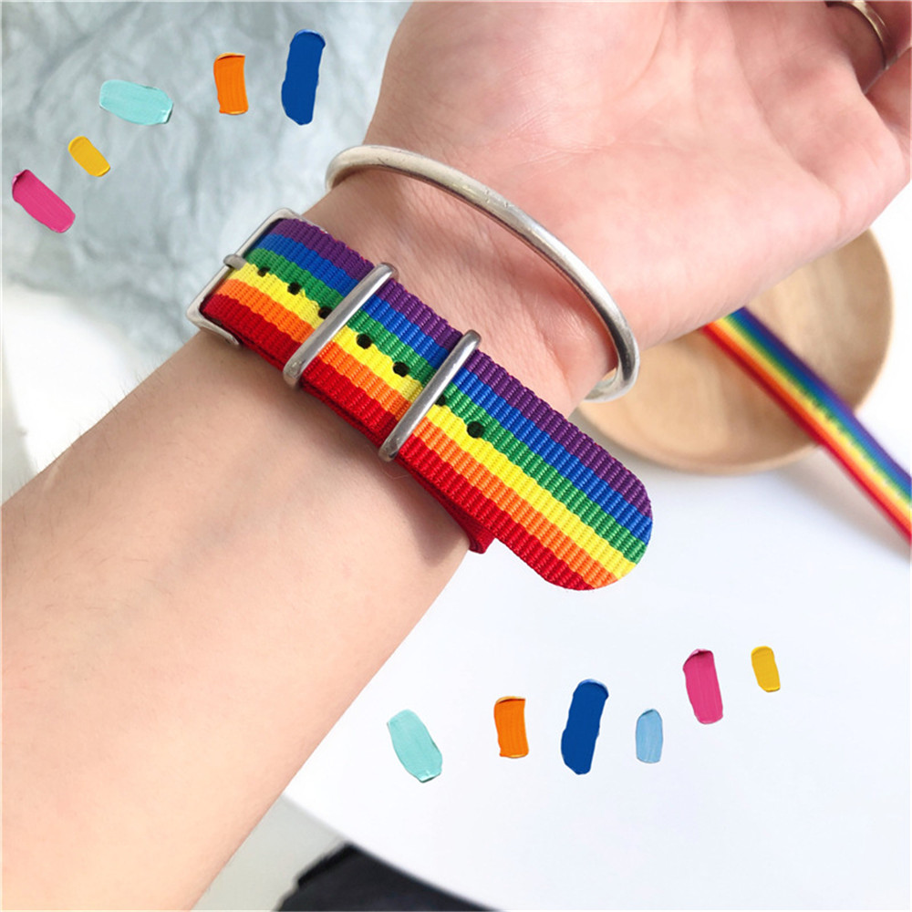 MLING Newest Nylon Rainbow Strap Bracelet Fashion Rainbow Bracelet Couples Bracelet