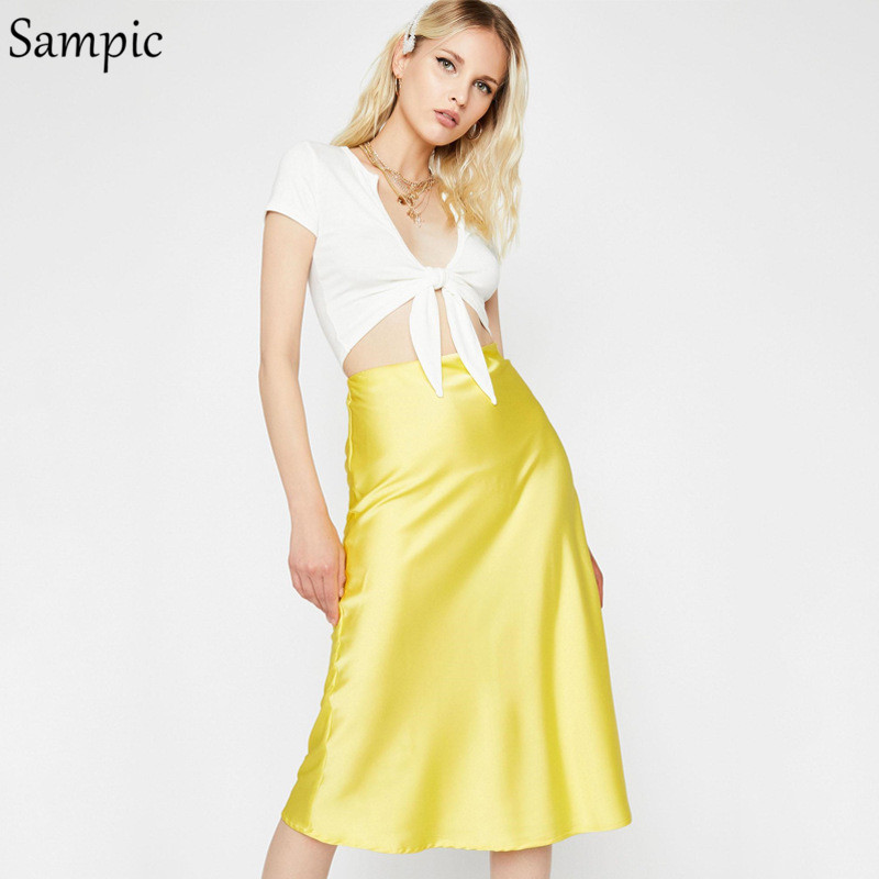Sampic Satin Women Midi Skirt Sexy Skirts Womens Pink Yellow Black High Waist Autumn Skirt image