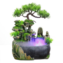 110 240V Creative Home Decoration Resin Rockery Waterscape Feng Shui Water Fountain Air Spray Green Plant Flowerpot Fish Tank
