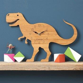 Forest Theme Bamboo Cartoon Dinosaur Wall Clock CHILDREN'S Room T-Rex Wood Animal Wall Clock Quartz Clock for living room