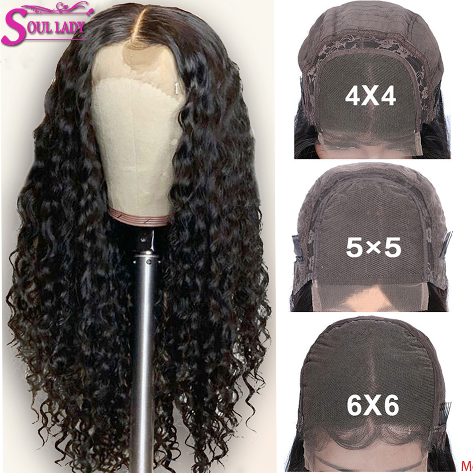 30 Inch Deep Wave Closure Wig 5x5 6x6 Lace Closure Human Hair Wigs Pre Plucked Remy Peruvian Hair 4x4 Lace Closure Wig 180%