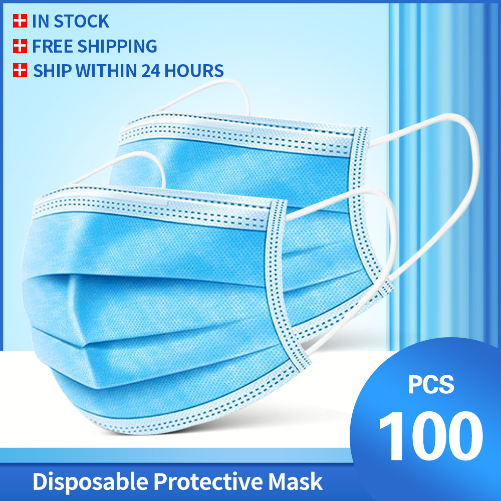 3 Layer Disposable Face Mask Protective Dust Proof Anti-bacterial Breathable Mask Filter Germ Protection Mask Mouth Masker Masks