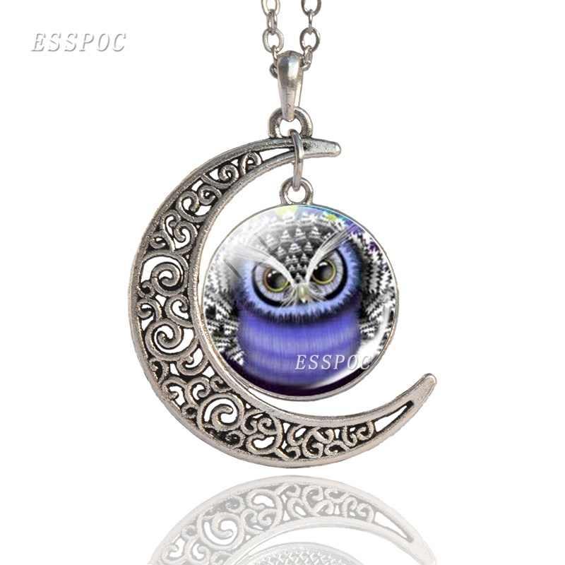 Cute Animal sowa wisiorek ze szklanym kaboszonem tybetański srebrny wisiorek z półksiężycem naszyjnik piękny urok biżuterii