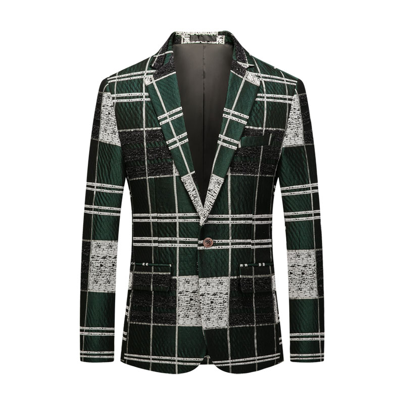 Big Size Green Mens Single Breast Casual Blazers 2020 Fashion Plaid Mens Suit Coat Slim Fit Desgin Plus Size Blazers Mens