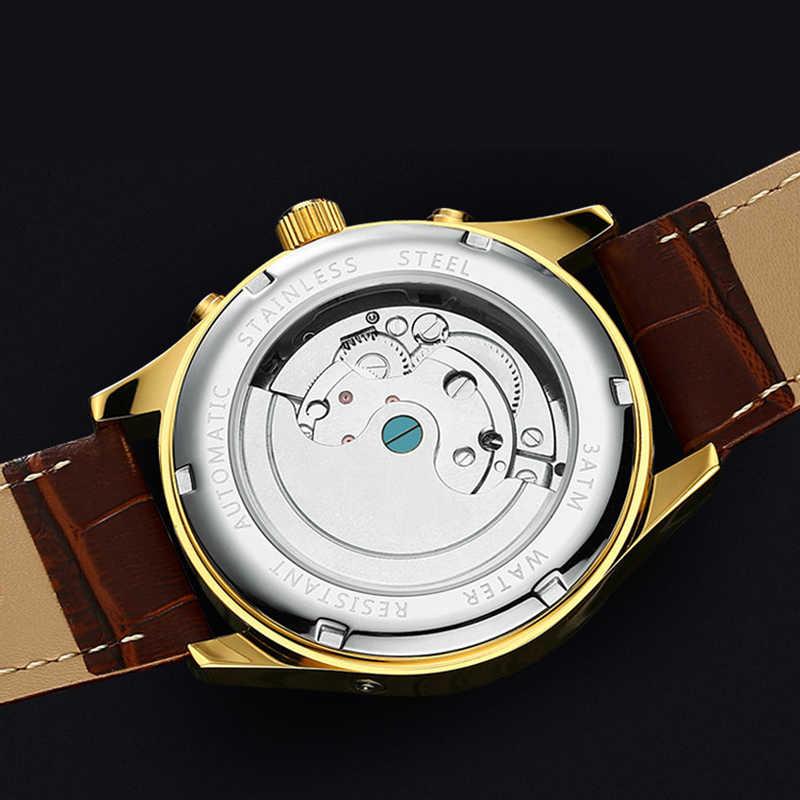 2018 חדש KINYUED שוויצרי אוטומטי Tourbillon מכאני לצפות שעון עמיד למים זוהר עור גברים של שעונים אוטומטיים
