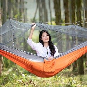 Hamaca de paracaídas ultraligera para acampada al aire libre, hamaca portátil para exteriores, mosquitera, hamaca doble para dormir de 260x140cm