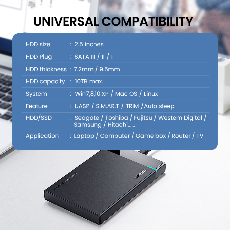 Ugreen HDD Case 2.5 SATA to USB 3.0 Adapter Hard Drive Enclosure for SSD Disk HDD Box Type C 3.1 Case HD External HDD Enclosure 3