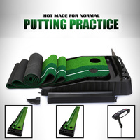 Portable Indoor Golf Putting Green Swing Trainer Set Putter Fairway Lawn Golf Training Aids for  Home Office Simulation Grass