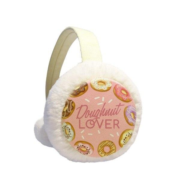 Doughnut Circle Western Dessert Food Winter Earmuffs Ear Warmers Faux Fur Foldable Plush Outdoor Gift