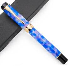 Jinhao centennial 100 caneta tinteiro 18kgp banhado a ouro m nib 0.7mm caneta de tinta acrílica com clipe de seta