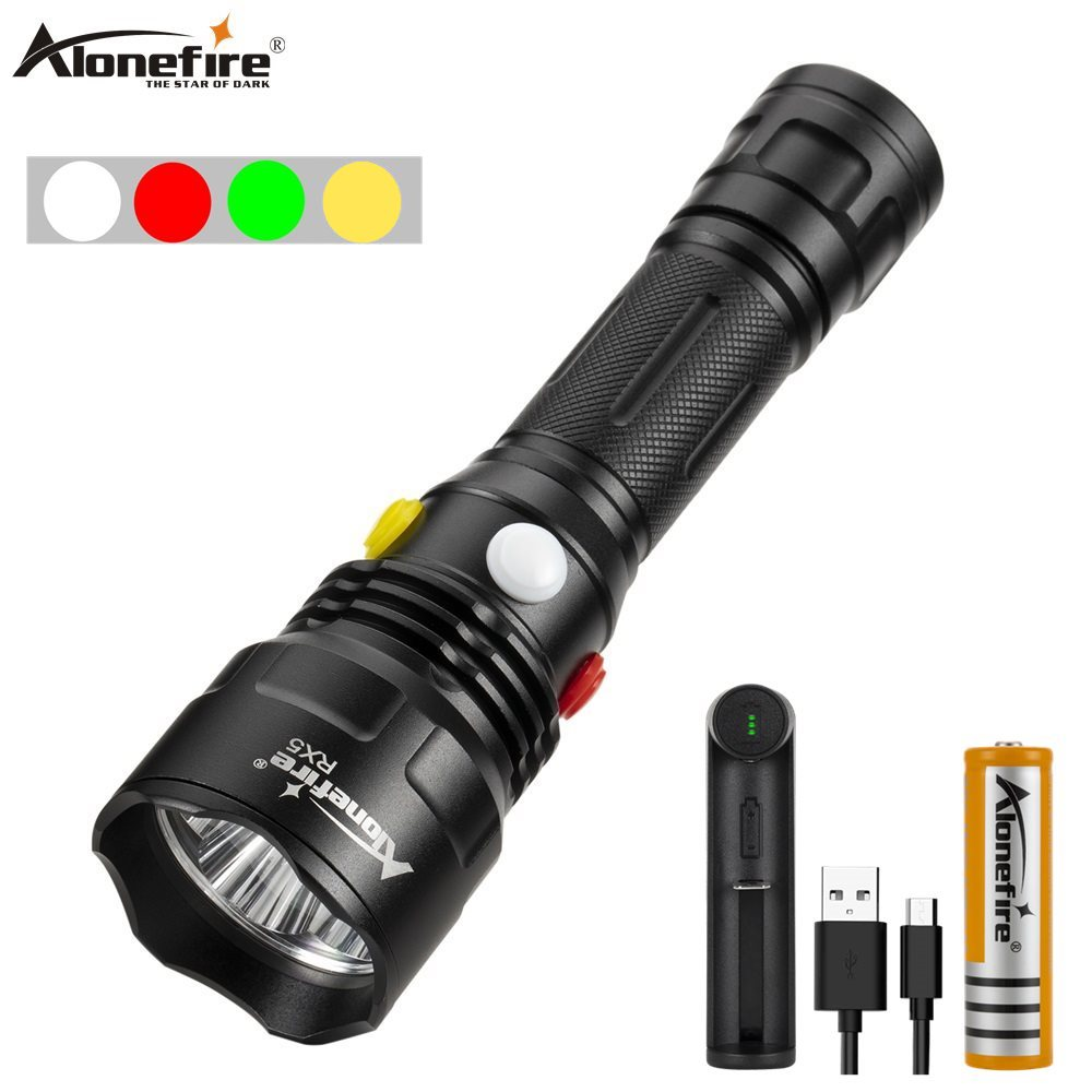 Alonefire RX5 White Red Green Yellow Led Flashlight Waterproof Magnetic Tactical Torch LED Torch Light For Outdoor Distress Sign