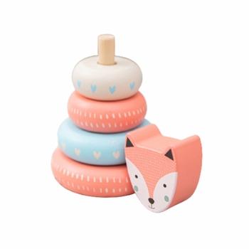 Montessori Kids Toys drewniane bloczki wieża do układania Rainbow Animal Fox Jenga drewniane bloczki Early Learning edukacyjne zabawki prezenty tanie i dobre opinie CN (pochodzenie) None Urodzenia ~ 24 Miesięcy 2-4 lata Zwierzęta i Natura