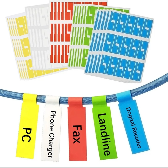 750Pcs כבל תווית מדבקת A4 נייר חוט Ethernet רשת חשמל כבל תוויות כבל תג סמן הדפסת מדבקות ארגונית