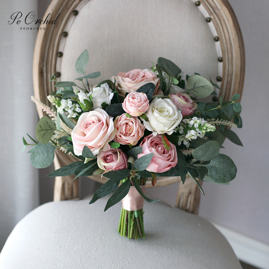 PEORCHID Romantic Eucalyptus Rose Bride Flower Bouquet Artificial Europe Style Dusty Pink Wedding Bouquets Buque De Noiva