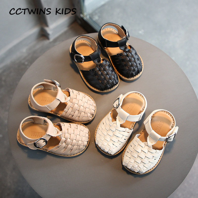 CCTWINS Kids Shoes 2020 Summer Children Pu Leather Shoes For Baby Fashion Princess Sandals Toddler Brand Black Flat Girls PS838