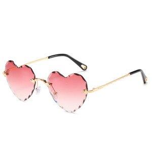 Image 2 - Женские солнцезащитные очки без оправы в форме сердца, модные брендовые дизайнерские очки в металлической оправе, градиент цвета конфеты, трендовые очки
