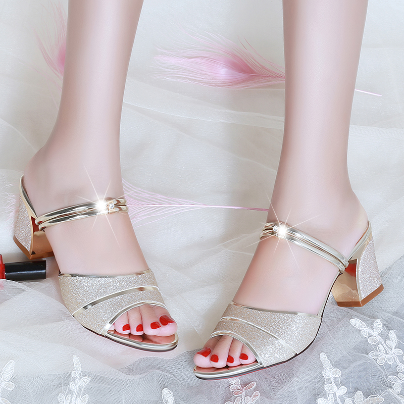 Women Slippers 2020 Summer Shoes Woman Sandals Silver Wedding Shoes Bling Slides Square Heeled Slipper Gold Sandalias Mujer 7247 3