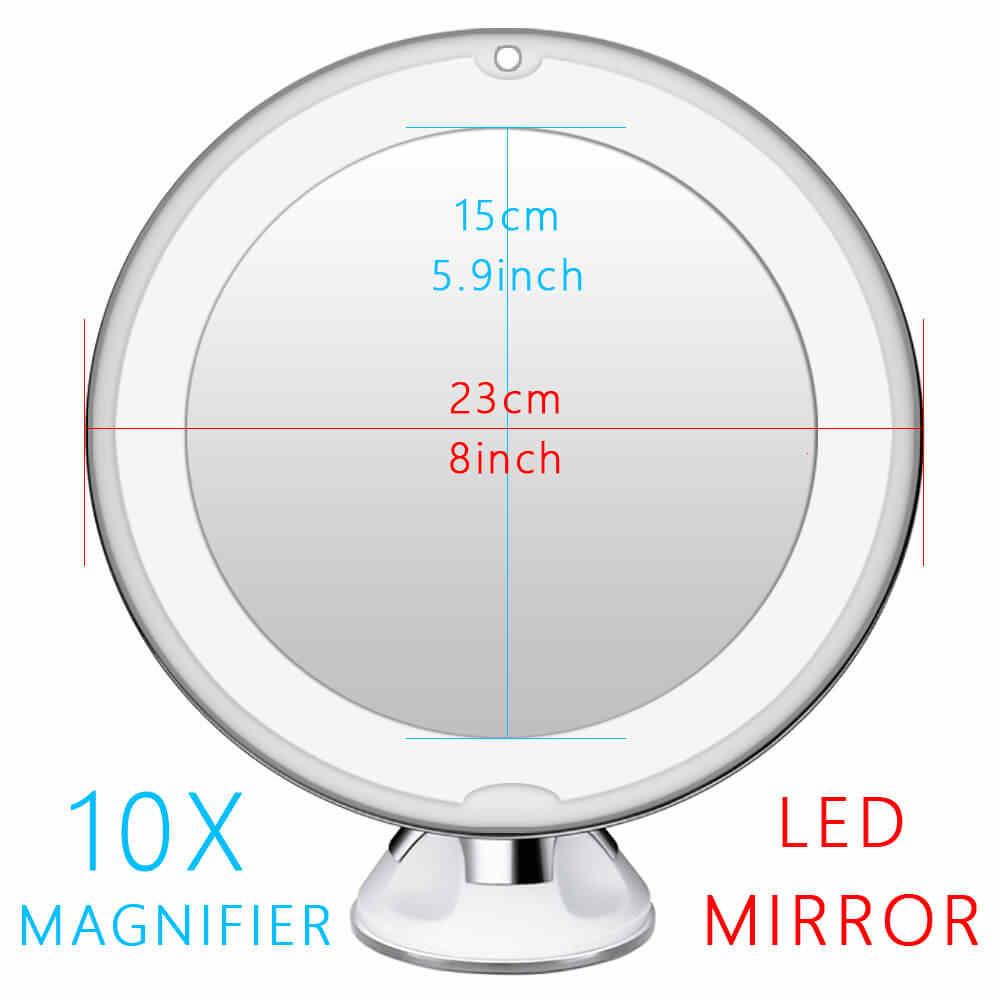 10X Lúp Đèn Led Gương Trang Điểm Đèn Phóng Pin Tay Vanity Kính Tạo Nên Đựng Mỹ Phẩm Mini Hút Dụng Cụ