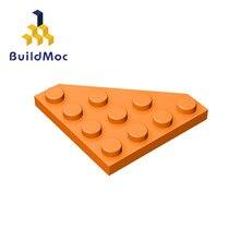 Buildmoc compatível monta partículas 30503 cunha, placa 4x4 corte canto para blocos de construção peças diy brinquedos educativos presente
