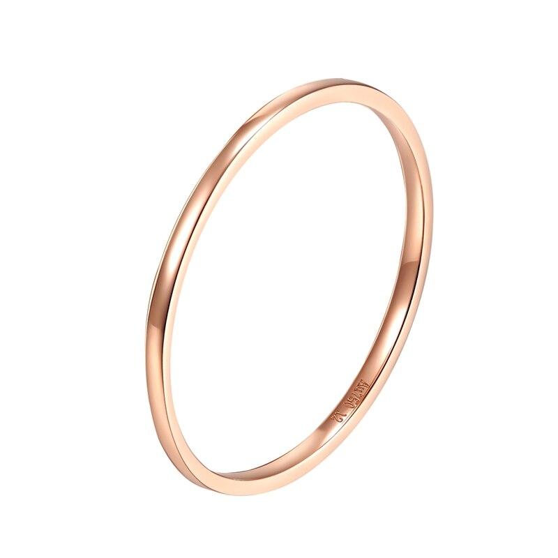 18k Rose Gold Sterling Silver White Sapphire Bezel Set Stackable Bangle New Gift