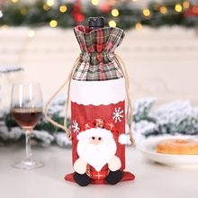 Drawstring Christmas Wine Bottle Cover Bags Holiday Home Par