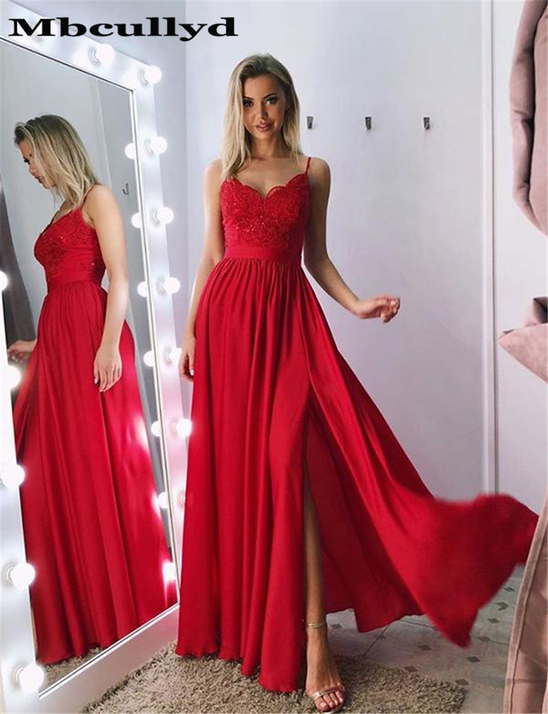 Mbcullyd Long Red A-line   Prom     Dresses   2020 Fashion Spaghetti Strap Lace Appliques Women Formal Evening   Dress   Gown High Split