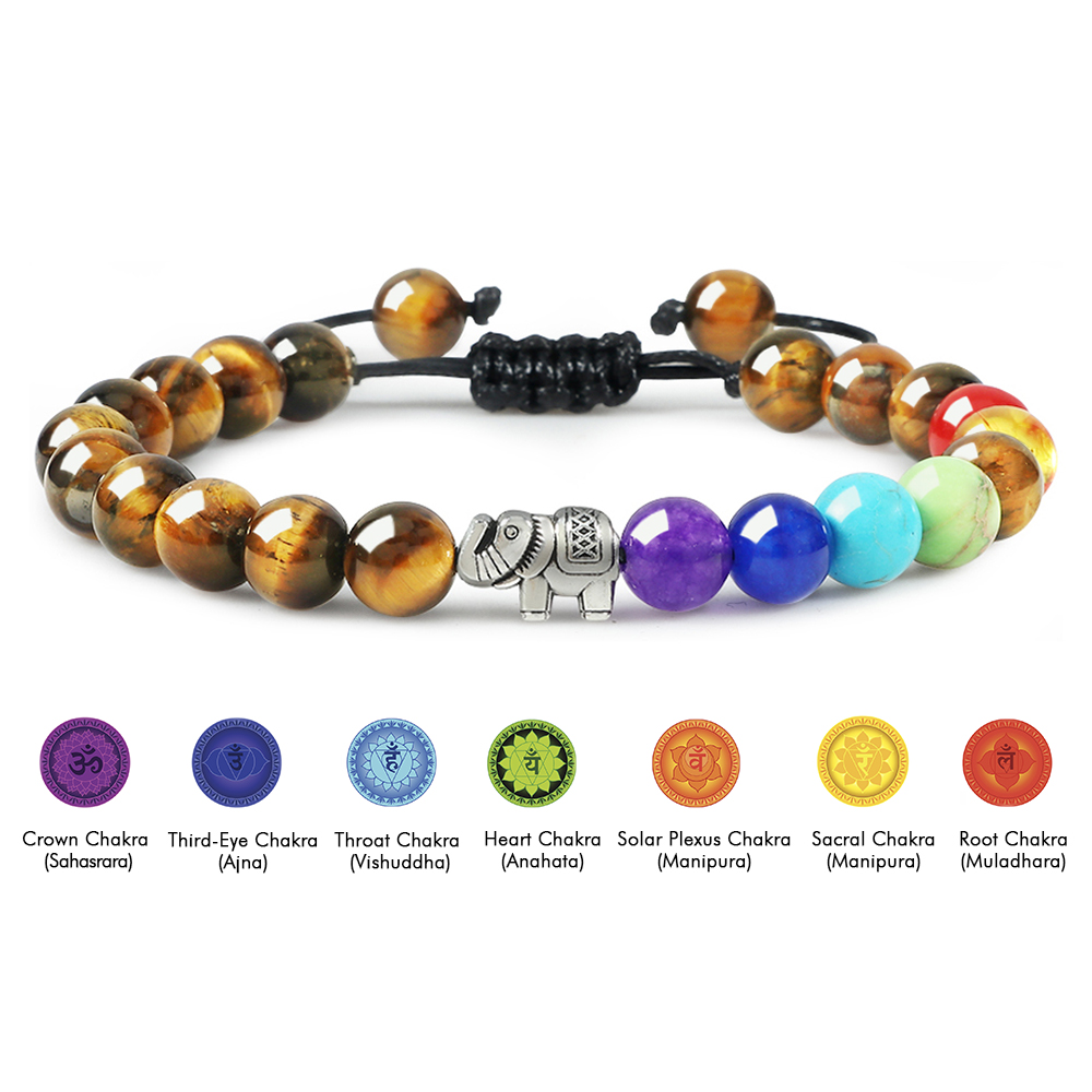 Natural Tiger Eye Stone Men Bracelets Reiki 7 Chakra Healing Beads Bracelet Black Lava
