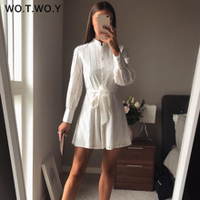 WOTWOY Casual Hollow out White Women Dress Long Sleeve Cotton Mini Women Dresses Sashes Lace A-line Women VestidoSummer 2020 New