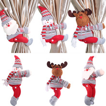 Christmas Curtain Holder Merry Christmas Decorations for Home Ornaments New Year 2021 Santa Claus Xmas Curtain Noel Home Decor