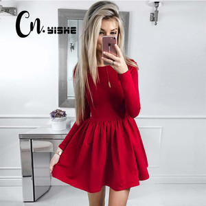 CNYISHE 2019 Fashion Casual Red Black Dress Women Solid Long Sleeve Sexy Slim A-line Dress Women Mini Dresses Vestidos Fall New