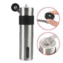 Srebrny młynek do kawy Mini ręczny podręcznik ze stali nierdzewnej ręcznie młynki do kawy Burr młynki kuchenne młynki do kawy tanie tanio CN (pochodzenie)