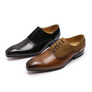 2019 Elegant Men's Dress Shoes Medallion Oxford Shoes Genuine Leather Black Brown Wedding Party Formal Shoes