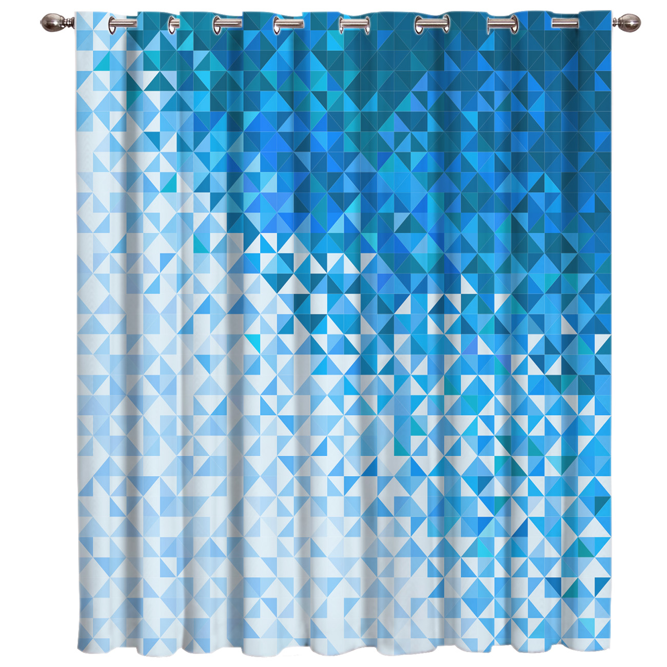 Blue Disco Mosaic Texture Room Curtains Large Window Living Room Bathroom Floral Decor Kids Window Treatment Hardware Sets