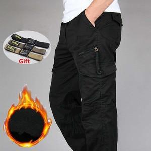 Image 2 - Męskie zimowe ciepłe grube spodnie dwuwarstwowe polarowe wojskowe kamuflaż wojskowy taktyczne bawełniane długie spodnie męskie workowate spodnie Cargo