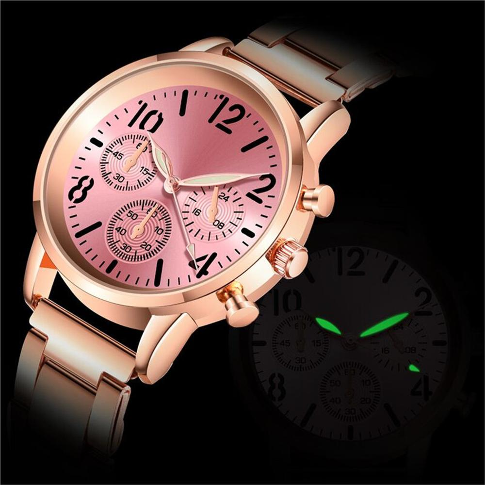 Stainless Steel Luminous Watches Sport High-end Quartz Hour Wrist Analog Watch Rose Gold Girls Gold Ladies Hot Sale Dress Gift
