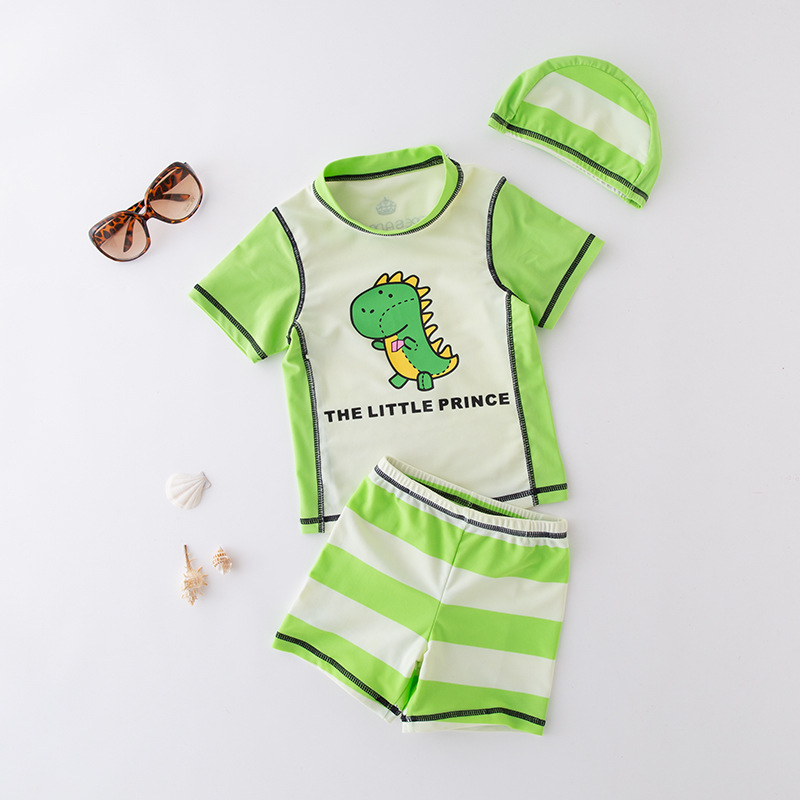 Men's Two-piece Swimsuits Green Dinosaur-with Hat KID'S Swimwear Hot Springs Clothing