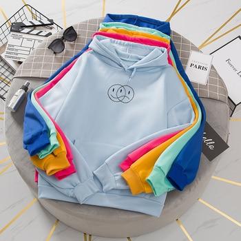 Korean Streetwear Sweatshirt Men Women Casual Pullover Hip Hop Long Sleeve Smile Sad Face Line Print Hoodies Sportswear Tops 6