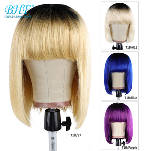BHF Ombre Short Bob Wig With Bangs Brazilian Straight Human Hair Wigs Remy Hair extensions For Women