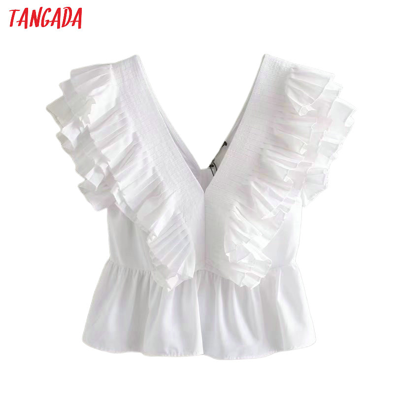 Tangada Women Sexy Ruffle White Summer Shirts V Neck Short Sleeve Solid Sexy Female Backless Party Blouses 4Q35
