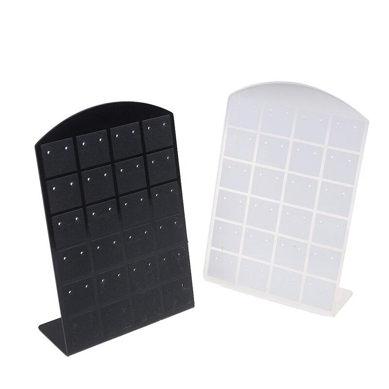 48 Holes Jewelry Organizer Stand Black White Plastic Earring Holder Pesentoir Fashion Earrings Display Rack Etagere