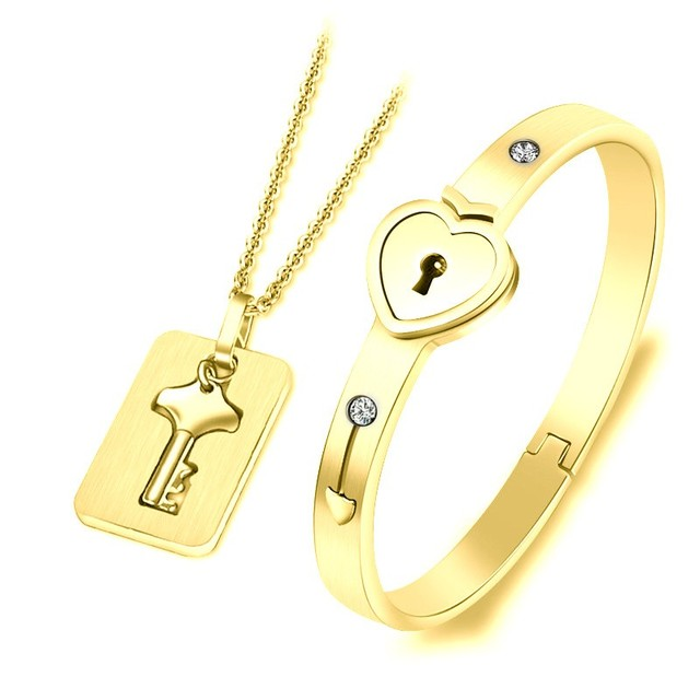 Fashion Jewelry Sets For Lovers Stainless Steel Love Heart Lock Bracelets Bangles Key Pendant Necklace Couples Set Dropshipping