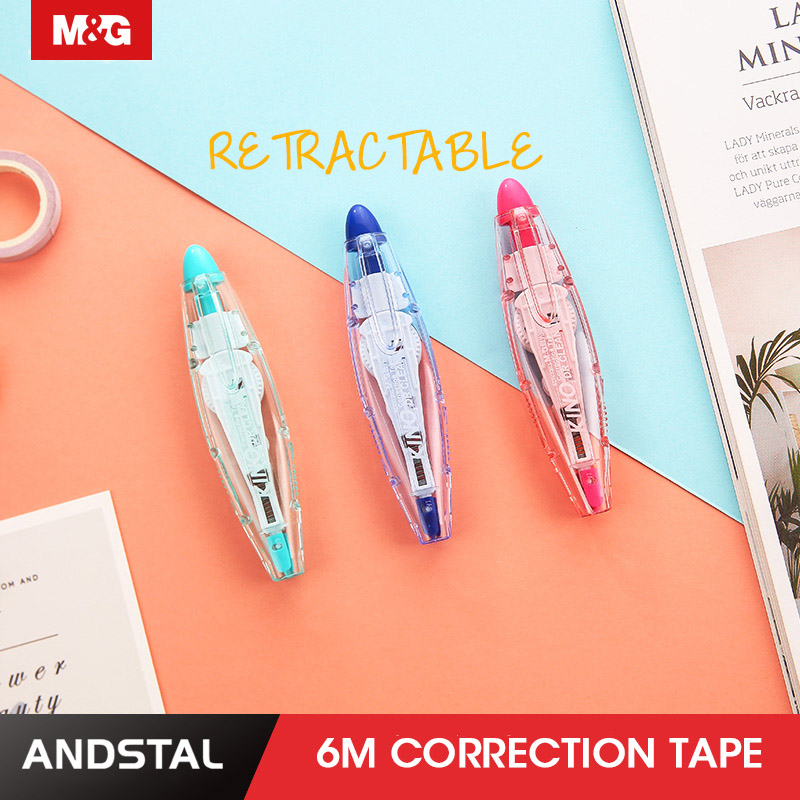 Andstal 5pcs/lot Retractable Correction Tape 6M M&G School Corrector Student Error Tape Pen Office White Out Real Fita Corretiva