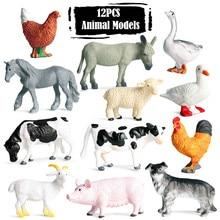 12 Pçs/set Animal Dinossauro Figuras de Ação Brinquedos Modelo Para As Crianças Tigre Leão Tubarão Baleia Cognize Educacional Brinquedos de Presente Coleção