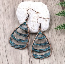 Bohemian Ethnic Green Open Stripe Water Drop Charm Pendant Dangle Earring Patina Plated Jewelry Women Gift