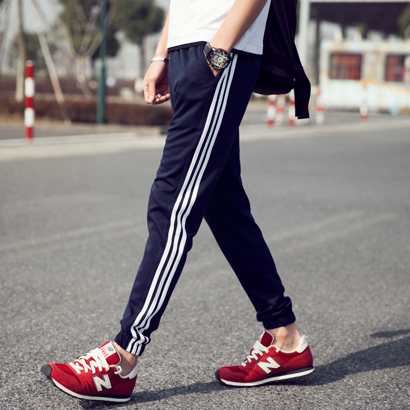 2019 Spring And Autumn Men Beam Leg Stripes Athletic Pants Fashion Fashion Man Slim Models Versatile Fashion Man Large Size Casu