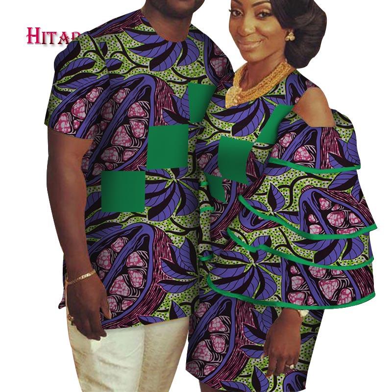 african couple clothing Men's Shirt+dashiki dress couple dress for lovers african couple dress Party wedding couple dress WYQ162
